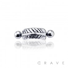 CURVED FEATHER WITH CZ PRESS FIT END CARTILAGE EAR CUFF