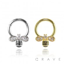 316L SURGICAL STEEL GEM PAVED BEE FRONT HINGED SEGMENT RING FOR SEPTUM, HELIX, TRAGUS, CAPTIVE