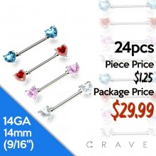 24PCS ASSORTED DOUBLE HEART CZ PRONG SET 316L SURGICAL STEEL NIPPLE BAR PACKAGE