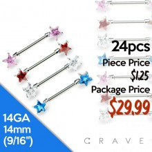 24PCS ASSORTED DOUBLE STAR CZ PRONG SET 316L SURGICAL STEEL NIPPLE BAR PACKAGE