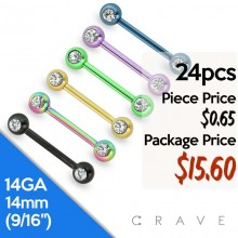 24PCS ASSORTED FRONT FACING DOUBLE GEM TITANIUM IP OVER 316L SURGICAL STEEL NIPPLE BARBELL PACKAGE