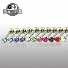 GRADE 23 SOLID TITANIUM BARBELL WITH PRESS FIT GEM