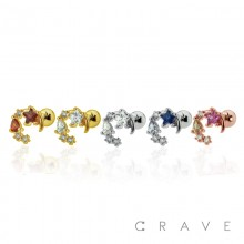 STAINLESS MOON WITH MULTI-COLORED CZ STAR GEMS CARTILAGE BARBELL
