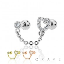 HEART CHAIN LINK 316L SURGICAL STEEL CARTILAGE BARBELL
