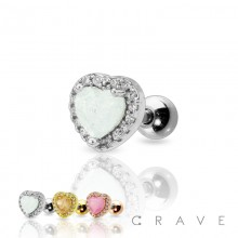 DAZZLE HEART CZ PAVED 316L SURGICAL STEEL CARTILAGE BARBELL