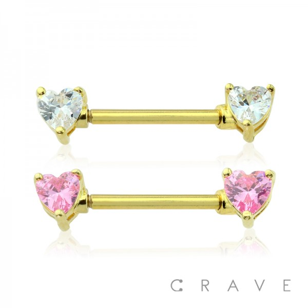 DOUBLE HEART CZ PRONG SET GOLD PVD PLATED OVER 316L SURGICAL STEEL NIPPLE BAR