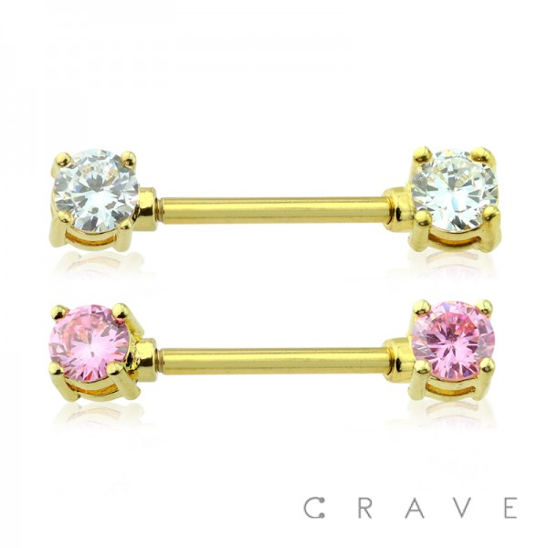 DOUBLE ROUND CZ PRONG SET GOLD PVD PLATED OVER 316L SURGICAL STEEL NIPPLE BAR