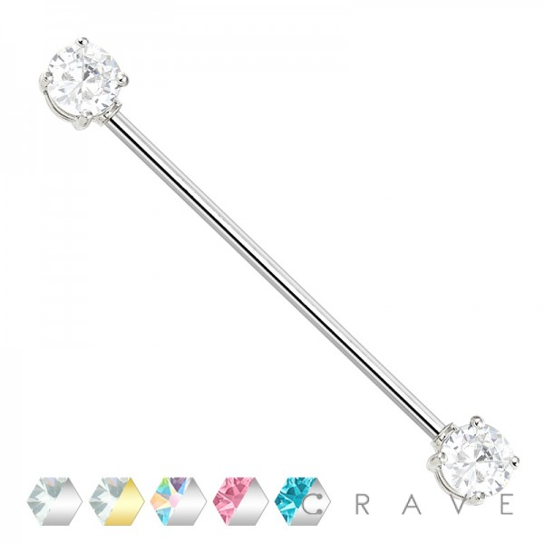 ROUND CZ PRONG SET 316L SURGICAL STEEL INDUSTRIAL BARBELLS