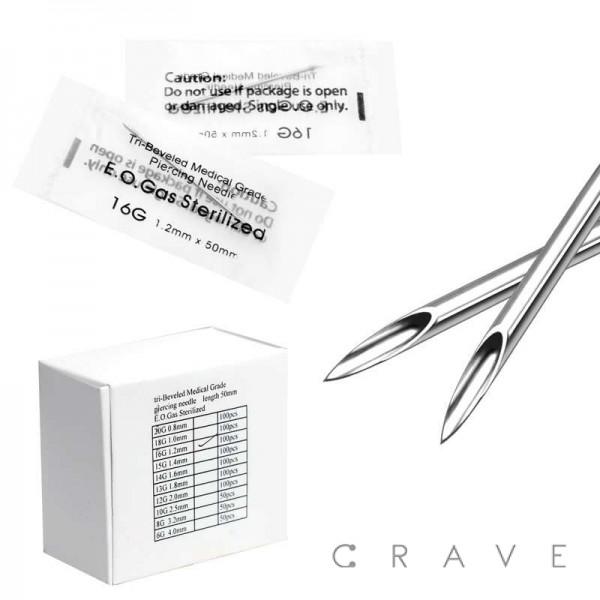 100PCS TRI-BEVELED MEDICAL GRADE STERILE BODY PIERCING NEEDLES