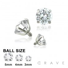 316L SURGICAL STEEL INTERNALLY THREADED CZ PRONG SET TOP