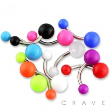 316L SURGICAL STEEL BELLY RING WITH PLAIN UV SOLID COLOR ACRYLIC BALL