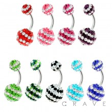 316L SURGICAL STEEL FERIDO PAVED STRIPED BALL NAVEL RING