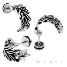316L SURGICAL STEEL FAKE PLUG W/ STAR FEATHER