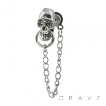 316L SURGICAL STEEL FAKE PLUG W/ SKULL RING CHAIN