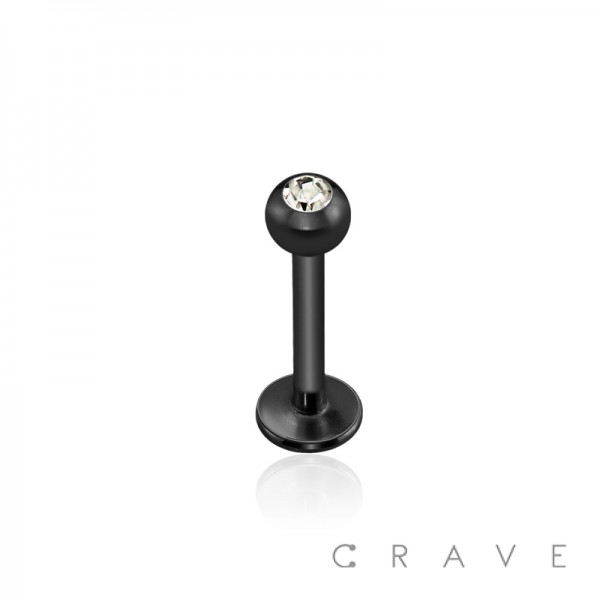 BLACK PVD PLATED OVER 316L SURGICAL STEEL LABRET/MONROE WITH PRESS FIT CLEAR GEM