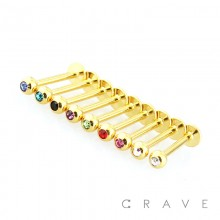 GOLD PLATED OVER 316L SURGICAL STEEL LABRET/MONROE WITH PRESS FIT GEM BALL