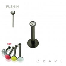 PRESS FIT THREADLESS PUSH-IN PVD BLACK PLATED 316L SURGICAL STEEL LABRET WITH SOFT ENAMEL BACK FOR COMFORT