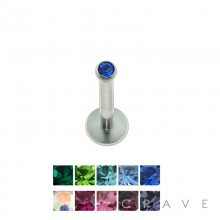 316L SURGICAL STEEL INTERNALLY THREADED LABRET/MONROE WITH 2MM GEM