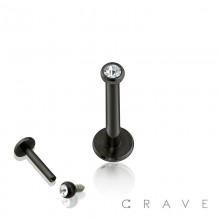 BLACK TITANIUM IP OVER 316L SURGICAL STEEL INTERNALLY THREADED LABRET/MONROE WITH 2MM CLEAR GEM