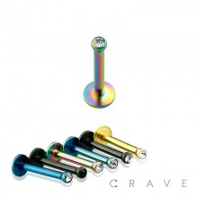 TITANIUM IP OVER 316L SURGICAL STEEL INTERNALLY THREADED LABRET/MONROE WITH 2MM GEM