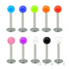 316L SURGICAL STEEL LABRETS/MONROES WITH SOLID COLOR ACRYLIC BALL