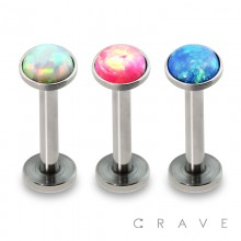 INTERNALLY THREADED 316L SURGICAL STEEL PRESS FIT SYNTHETIC OPAL LABRET/MONROE