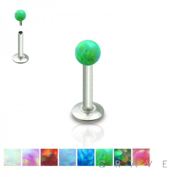 316L SURGICAL STEEL INTERNALLY THREADED LABRET/MONROE WITH SYNTHETIC OPAL BALL