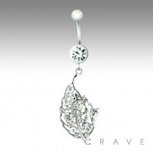 CZ CLUSTERED BUTTERFLY LEAF DANGLE 316L SURGICAL STEEL NAVEL RING