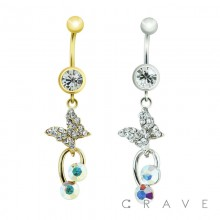 GEM PAVED BUTTERFLY DOUBLE CZ DANGLE 316L SURGICAL STEEL NAVEL RING