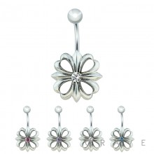 TRIBAL 4 LEAF CLOVER WITH CENTER CZ 316L SURGICAL STEEL NAVEL RING