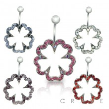 GEM PAVED 5 LEAF CLOVER 316L SURGICAL STAINLESS SWIVEL NAVEL RING
