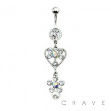MULTI CZ HEART AND FLOWER W/ PEARL DROP DANGLE 316L SURGICAL STEEL NAVEL RING