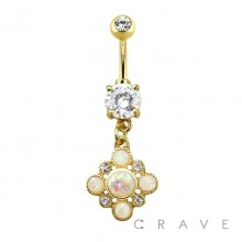 GOLD PLATED GLITTER OPAL CZ DANGLE PRONG SET 316L SURGICAL STEEL NAVEL RING