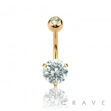ROSE GOLD PLATED DOUBLE GEM PRONG SET ROUND CZ 316L SURGICAL STEEL NAVEL RING