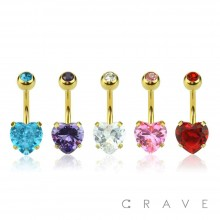 GOLD PLATED PRONG SET HEART CZ 316L SURGICAL STEEL NAVEL RING