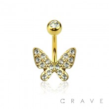 GOLD PLATED BUTTERFLY CZ SET 316L SURGICAL STEEL NAVEL RING
