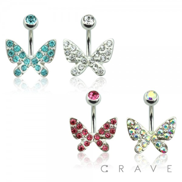 BUTTERFLY CZ SET 316L SURGICAL STEEL NAVEL RING
