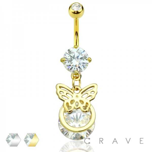 BUTTERFLY WINGS OVERLAPPED ROUND CZ DANGLE 316L SURGICAL STEEL NAVEL RING