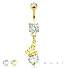 BUTTERFLY ON ROUND CZ DANGLE W/ CZ PRONG SET 316L SURGICAL STEEL NAVEL RING