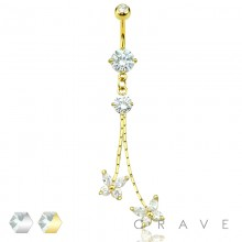 BUTTERFLY DUO CHAIN W/ DOUBLE PRONG CZ SET JEWELED DANGLE 316L SURGICAL STEEL NAVEL RING