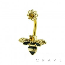 FLOWER AND BEE GEM 316L SURGICAL STEEL NAVEL RING
