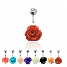 GEM TOP 316L SURGICAL STEEL BELLY BUTTON RING WITH STONE ROSE