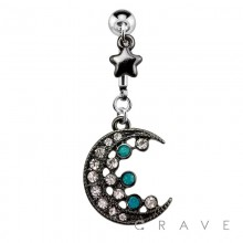 TWO TONE GEM PAVED CRESCENT MOON WITH STAR DANGLE 316L SURGICAL STEEL NAVEL RING