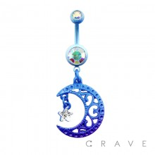 IP PLATED FILIGREE MOON WITH STAR CZ DANGLE 316L SURGICAL STEEL NAVEL RING
