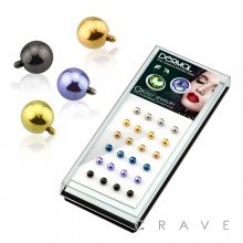24PCS OF PVD PLATED OVER 316L SURGICAL STEEL ASSORTED ROUND BALL DERMAL TOP PACKAGE