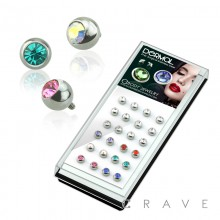 24PCS 316L SURGICAL STEEL ASSORTED ROUND GEM BALL DERMAL TOP PACKAGE