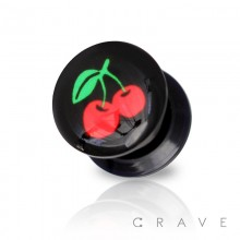 RED CHERRY PRINT TOP BLACK ACRYLIC SCREW FIT PLUG (FRUIT)