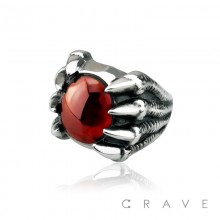 STAINLESS STEEL RED STONE GOTHIC DRAGON CLAW RING