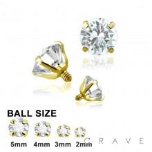 GOLD PVD PLATED OVER 316L SURGICAL STEEL INTERNALLY THREADED CZ PRONG SET TOP