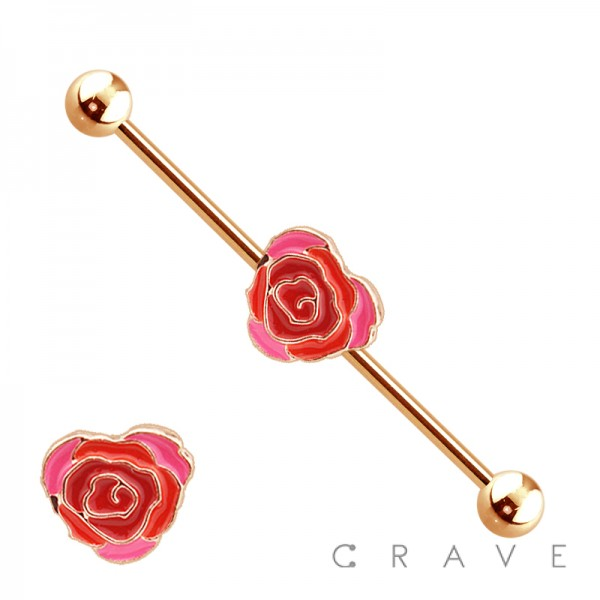 PINK HEART ROSE CENTERED ROSE GOLD PLATED 316L SURGICAL STEEL INDUSTRIAL BARBELL